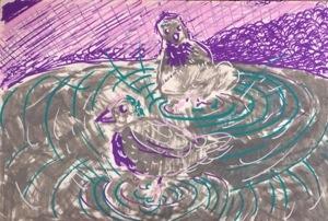 """Sketchbook Page"", 7x9"", paint marker on paper, Charlie Kirkham."