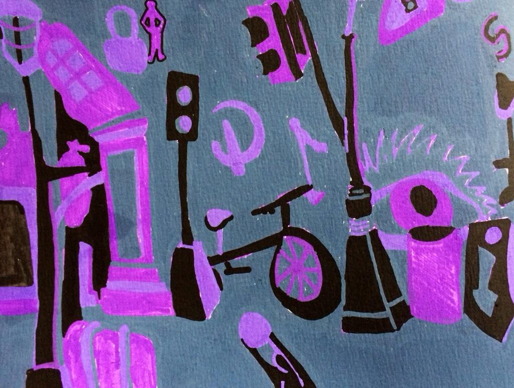 """Sketchbook Page: Urban Forest"", paint marker on paper, 9x14"", Charlie Kirkham."