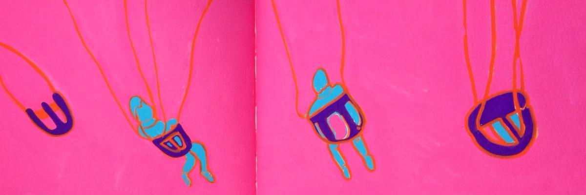 """Sketchbook Page"", paint marker on paper, 7x14"", Charlie Kirkham."