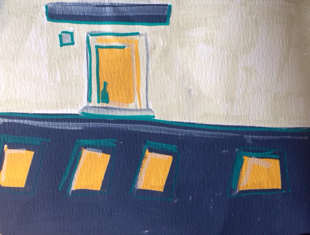 Sketchbook: Windows in the Courtyard, paint marker on paper, Charlie Kirkham.