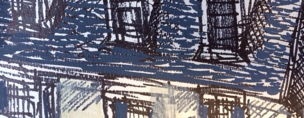 """Rooftops"", paint marker on paper, Charlie Kirkham."