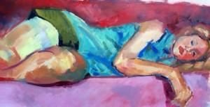 """Bernie Sleeping"", oil on paper, 22x12""."