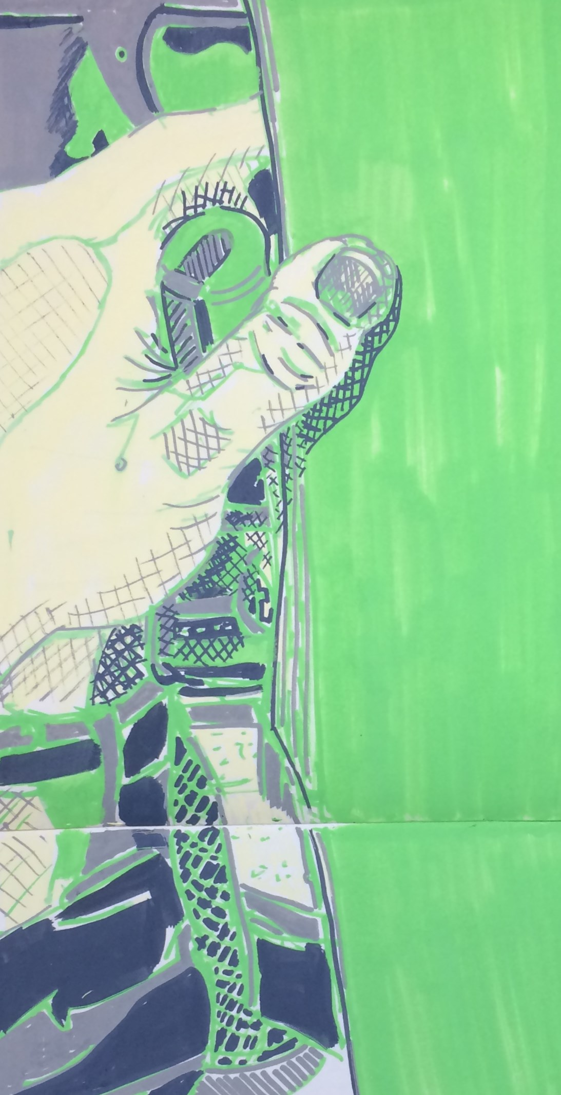 """""""Sketchbook Page: Hand on the Tube"""", paint marker on paper, 7x18""""."""