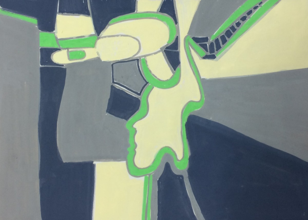"""""""Sketchbook Page: train"""", paint marker on paper, 7x18""""."""