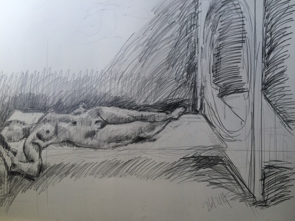 """Bernie and the Circle"", pencil on paper, 42x32cm, Charlie Kirkham."
