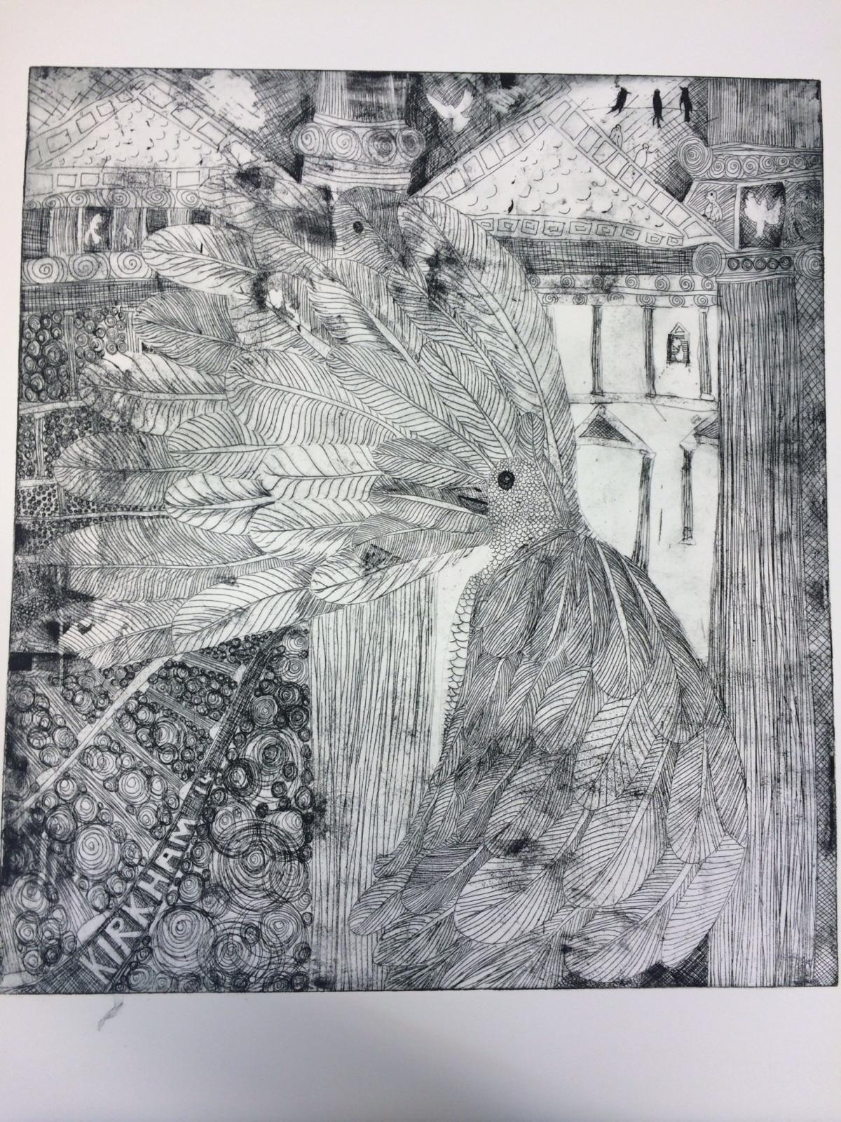 """Panem et circenses"", etching print, 40x50cm, edition of 10. Charlie Kirkham 2014."