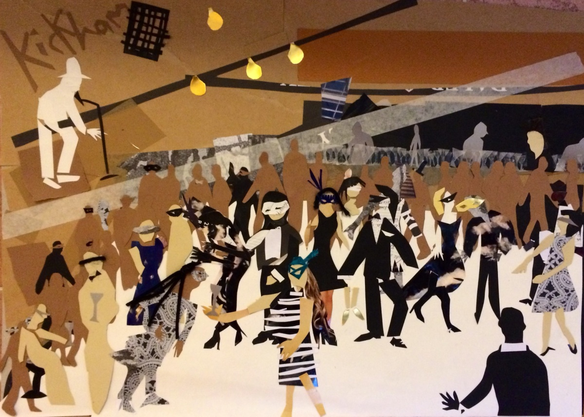 """Masked Ball: The Dance Room"". cpllage on A2 paper. Charlie Kirkham 2014."