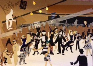 """""""Masked Ball: The Dance Room"""". cpllage on A2 paper. Charlie Kirkham 2014."""