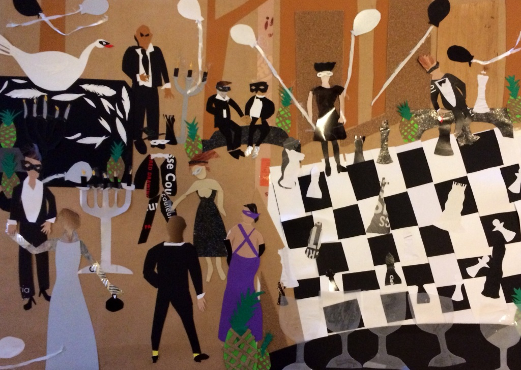 """Masked Ball: The Chess Room"", collage on paper, 42x32"", Charlie Kirkham 2014."