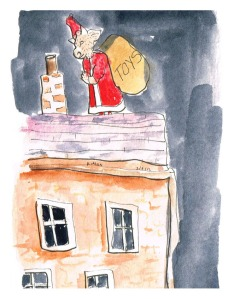 """Xmas Minotaur"", ink & watercolour on paper, 6x4"", Charlie Kirkham."
