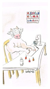 """A Minotaur Gets A Pink Rinse"", 6x4"" watercolour and ink on paper, Charlie Kirkham."