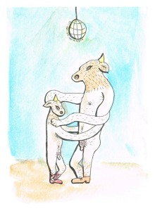 """Two Minotaurs Dancing Under a Disco Ball when the Party is Over"", watercolour & ink on paper, 6x4"", Charlie Kirkham."