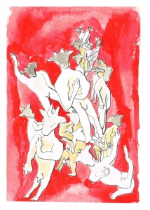 """Dance of the Minotaurs II"", ink & watercolour on paper, 6x4"", Charlie Kirkham."