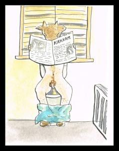 """Minotaur on the Loo"", watercolour & ink on paper, 6x4"", Charlie Kirkham."