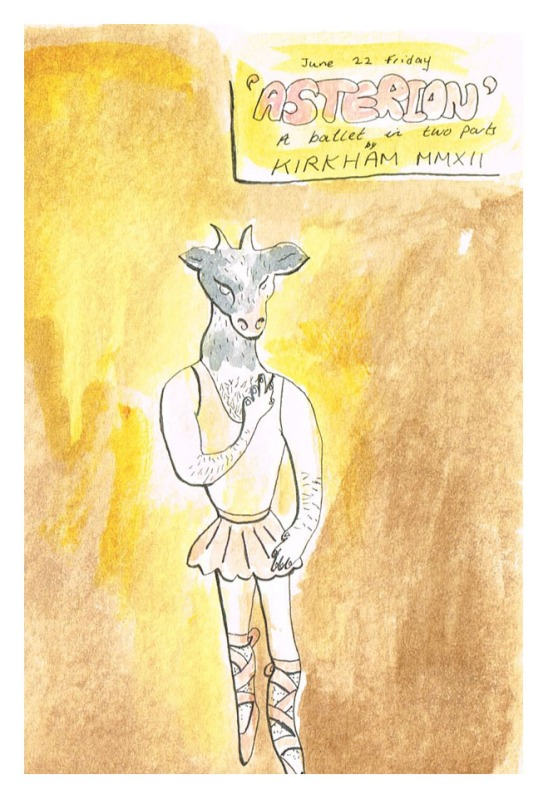 """Minotaur Appearing in a Performance of Asterion"", watercolour & ink on paper, 6x4"", Charlie Kirkham."