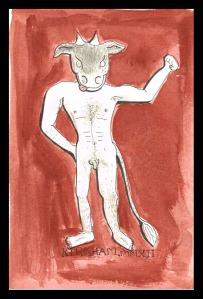 """Minotaur"", watercolour & ink on paper, 6x4"", Charlie Kirkham."