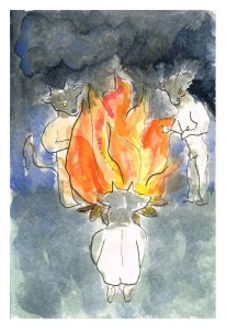 """Minotaurs Round a Bonfire"", watercolour & ink on paper, 6x4"", Charlie Kirkham."