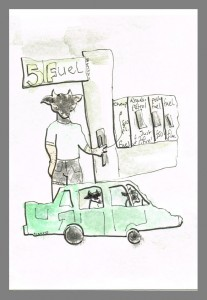 """A Minotaur bemoaning the rising cost of fuel"", watercolour & ink on paper, 6x4"", Charlie Kirkham."