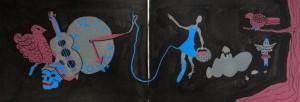 """Sketchbook Page"", paint marker on paper, 14x7"""", Charlie Kirkham."