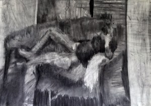 """Expecting III"", charcoal on paper, 42x30cm, Charlie Kirkham,"