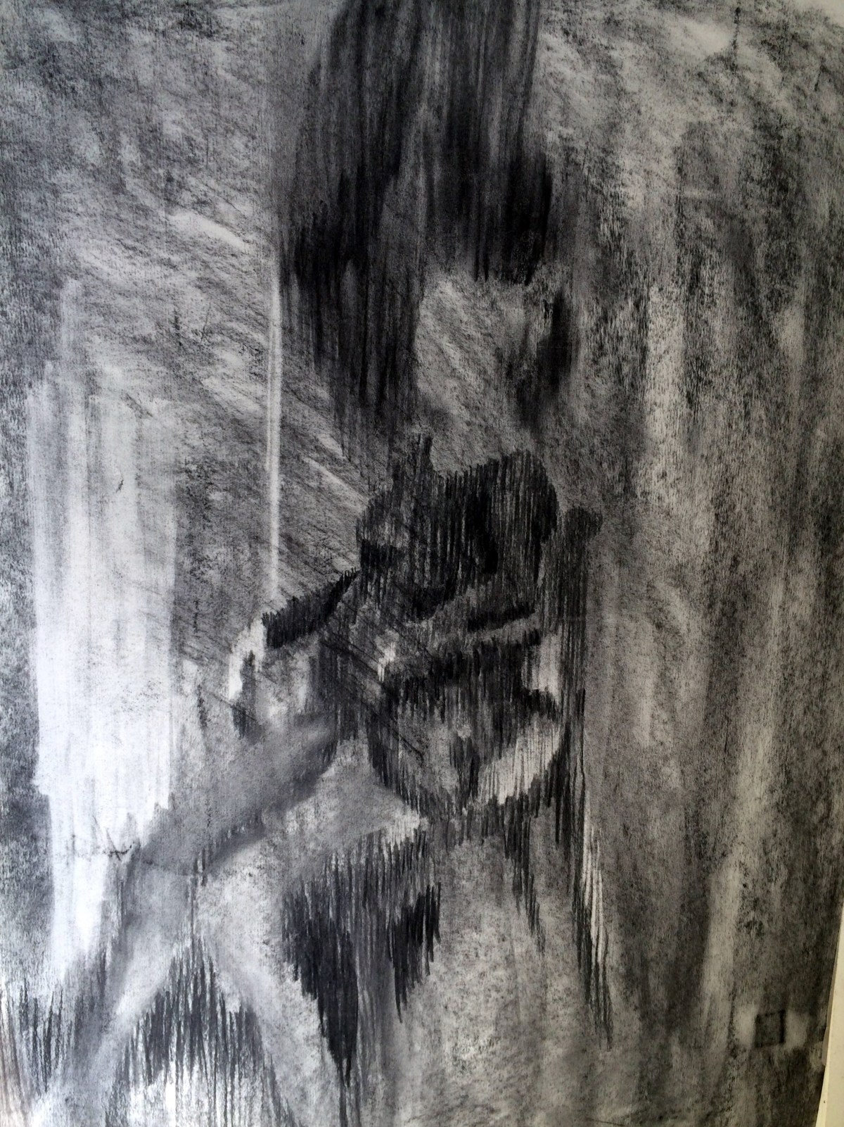 """""""Expecting II"""", charcoal on paper, 42x30cm, Charlie Kirkham,"""