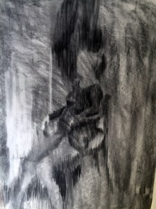 """Expecting II"", charcoal on paper, 42x30cm, Charlie Kirkham,"