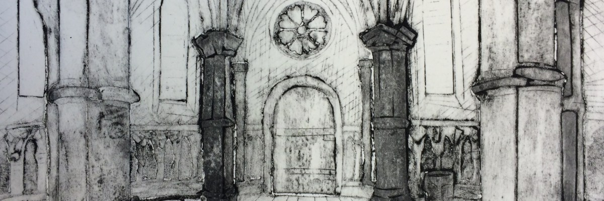 "11x15"", Collograph print in black ink on Fabriano paper of the circular back of the Temple Church, London."