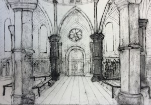 """11x15"""", Collograph print in black ink on Fabriano paper of the circular back of the Temple Church, London."""