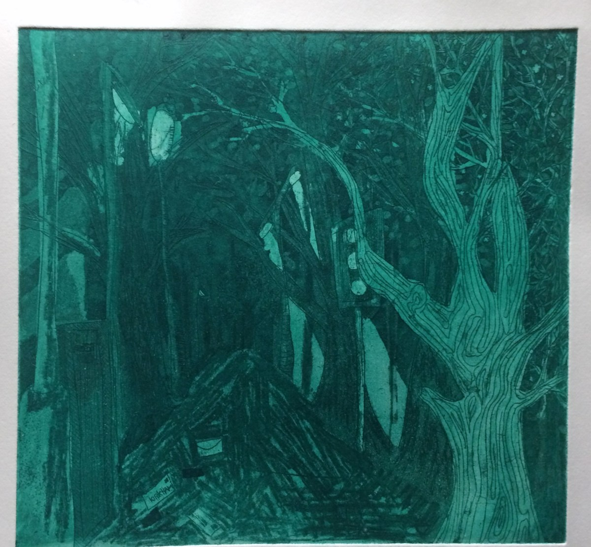 """Urban Forest"", 23x24cm, Green Ink Aquatint on Fabriano Paper, limited print run. Charlie Kirkham 2014."