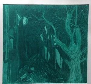 """Urban Forest"", 23x24cm, Green Ink Aquatint on Fabriano Paper, limited print run. Charlie Kirkham 2014."