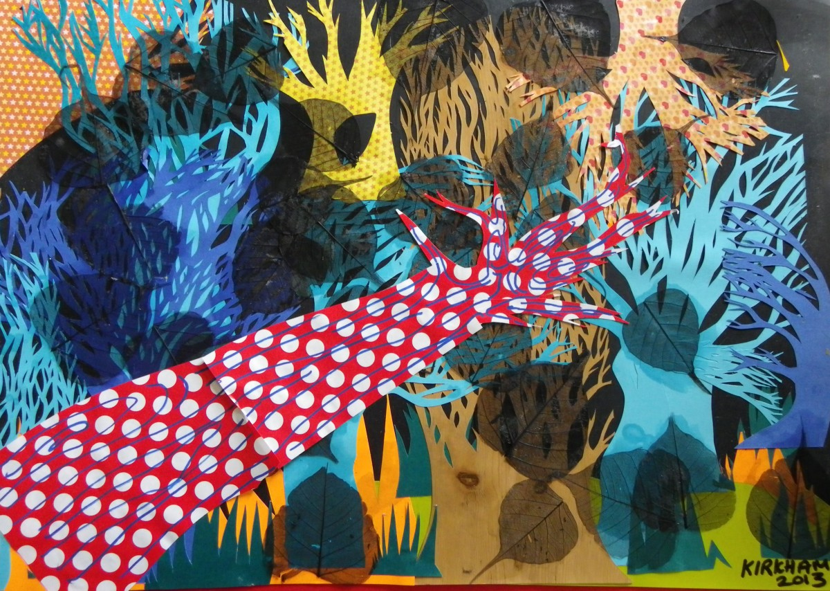 """Autumn Leaves"", mixed media collage on cardboard, Charlie Kirkham 2013."