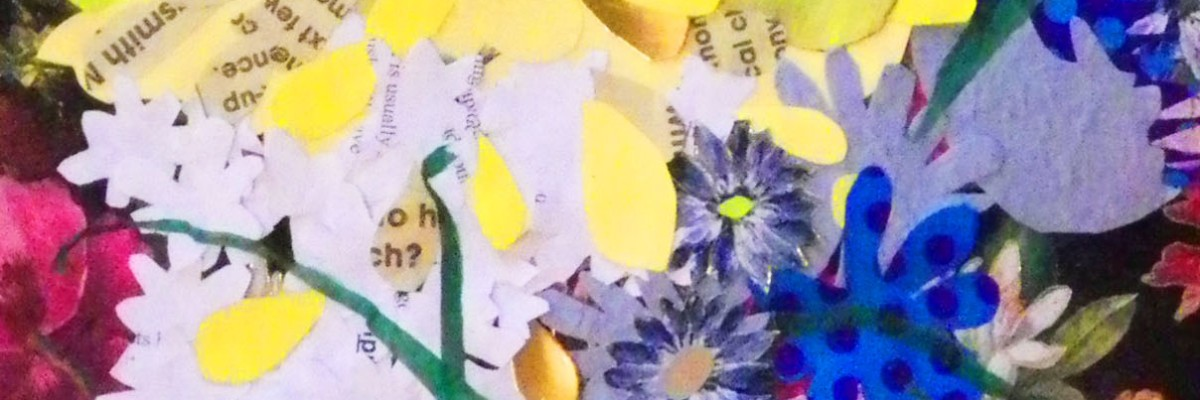 """Flowers on Flowers"", collage and watercolour on paper, 700x320mm. Charlie Kirkham 2014."