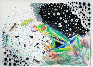 """Froggy and the Tadpoles"", mixed media on paper, 43x30cm, Charlie Kirkham 2013."