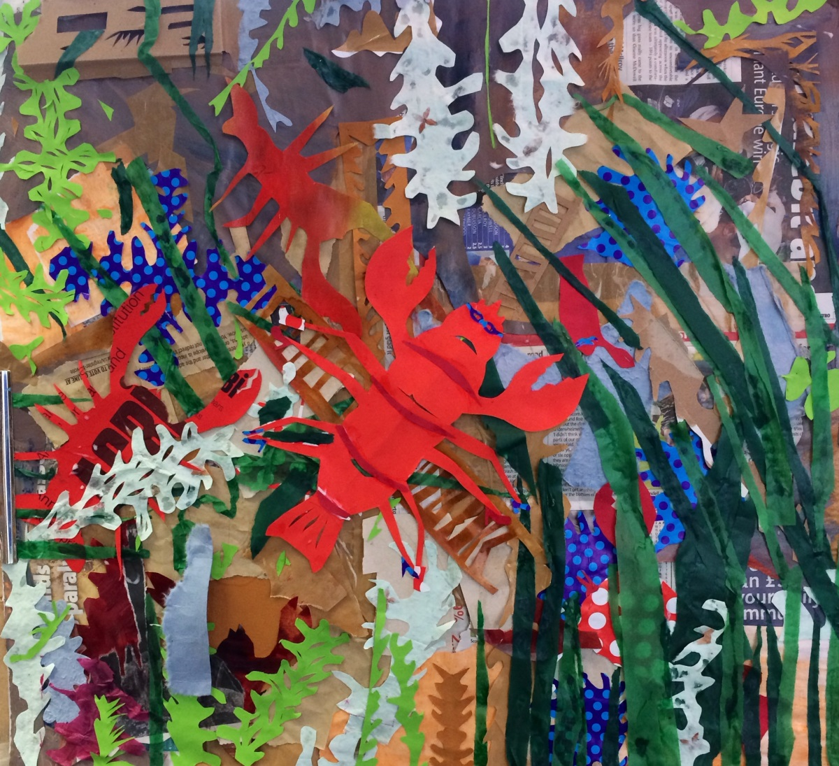 """""""Under the Sea Lobster Family"""", collage on paper, 63x59cm, Charlie Kirkham 2014."""