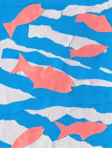"""""""Six Little Fishes"""", 6x4"""" collage on board, Charlie Kirkham 2014."""