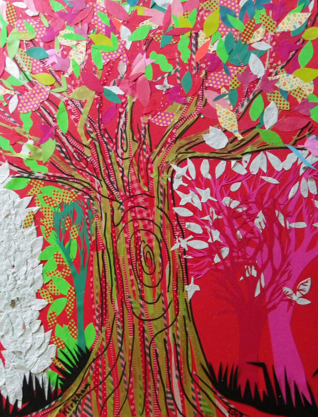 """The Red Tree"" 420x594mm, collage on card, Charlie Kirkham 2013."
