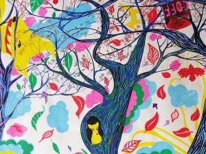 """The Swineherd's Yellow Fox: Detail"", 170x23cm, Acrylic & Ink on paper, Charlie Kirkham 2013."