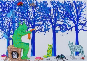 """Treeman Holding the Fox"", 297x420mm, paint marker, ink and pencil on paper, Charlie Kirkham 2013."