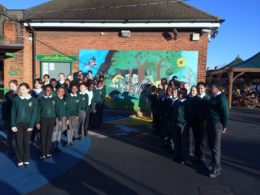 """""""My School Playground Project"""", Year 6 next to the completed mural."""