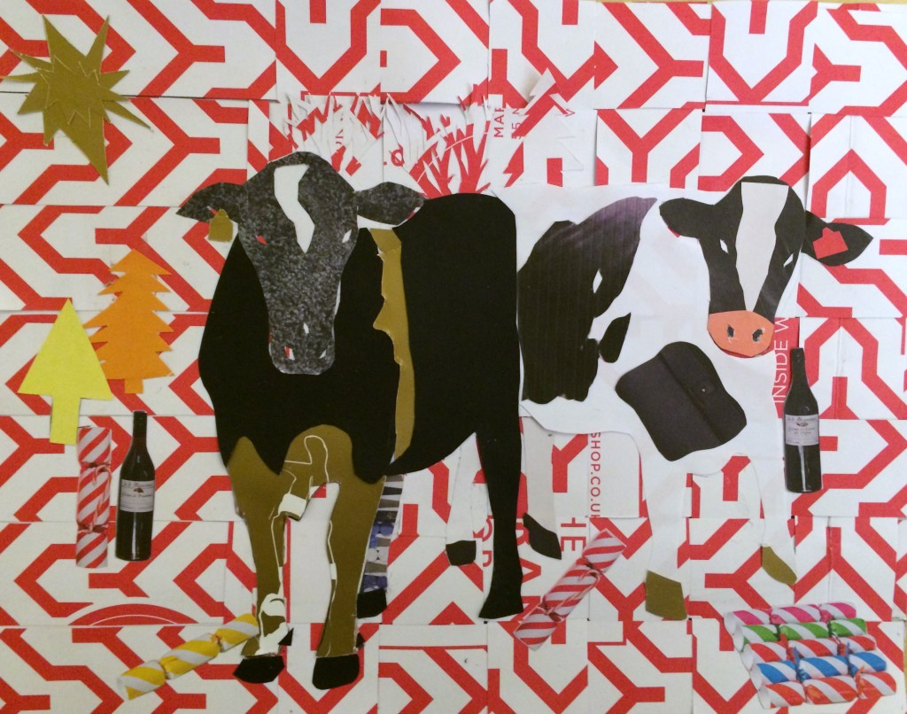 """Christmas Cows"", collage on card, 21x28cm, Charlie Kirkham 2014."