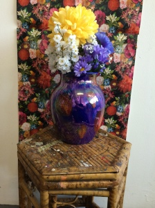 """Set up of still life for """"Flowers on Flowers""""."""