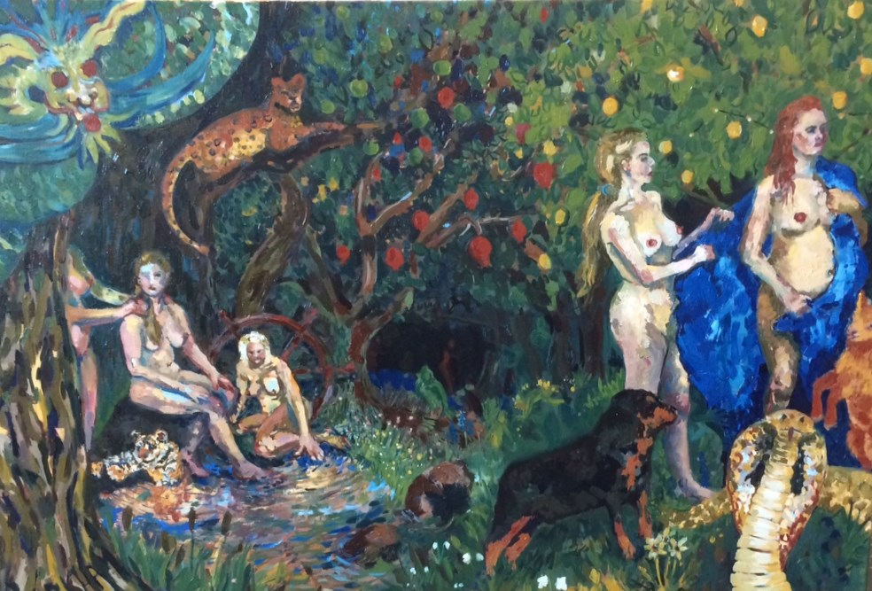 """Diana and Callisto"", oil on canvas, 25x36"", Charlie Kirkham 2015."