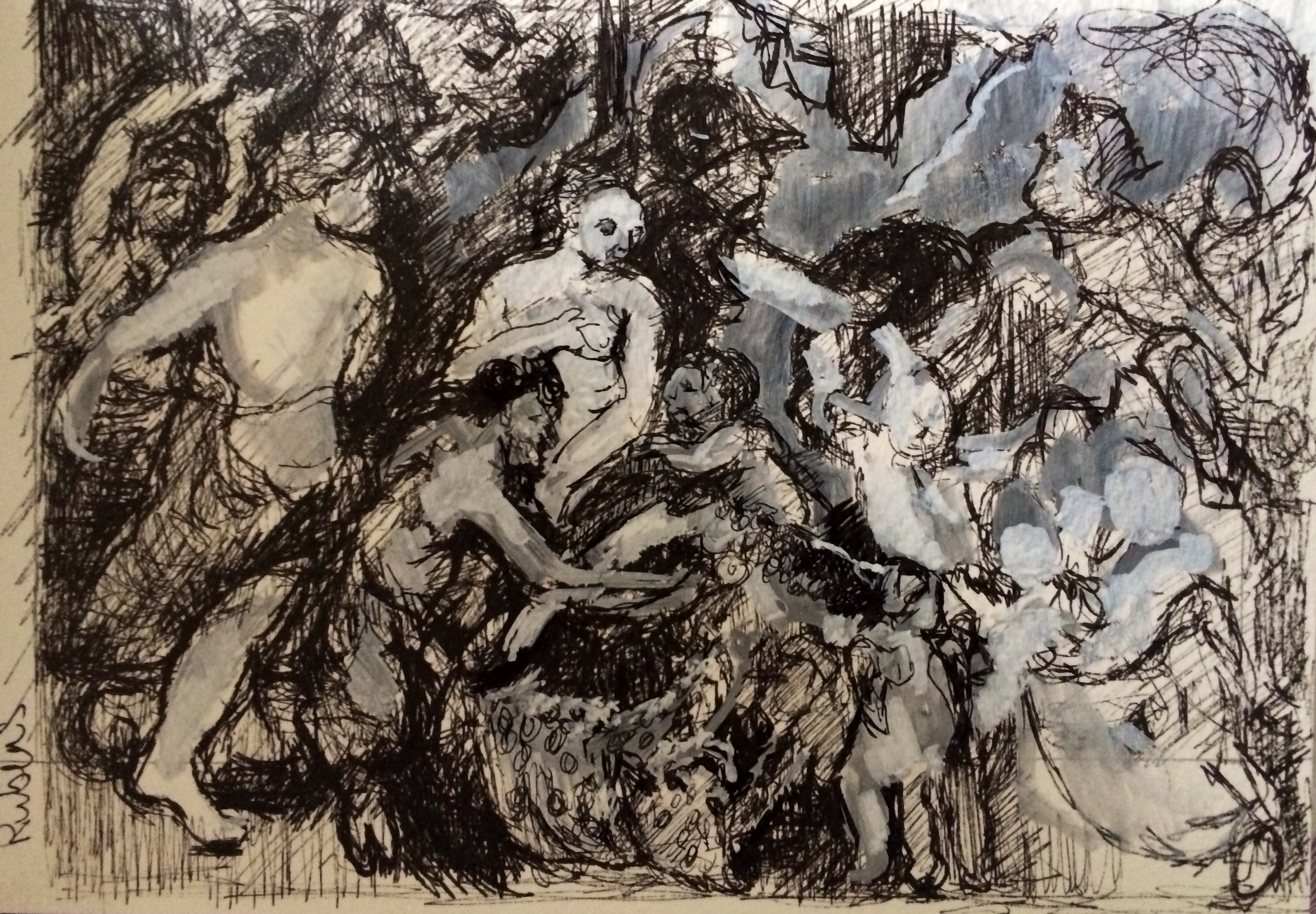 """Sketch after Rubens """"Peace & War"""", black ink and posca pen on watercolour paper, 10x8"""", Charlie Kirkham 2015."""