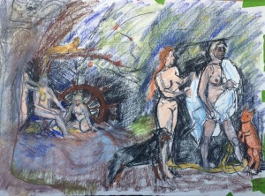 "Sketch for ""Diana and Callisto"", Pastel on Paper, Charlie Kirkham 2015."