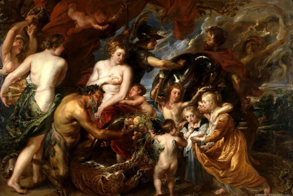 "Peter Paul Rubens, ""Minerva Protects Pax From Mars"", oil on canvas, 203x298 cm, 1629-30, National Gallery."