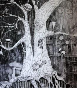 """Carlotta Oak"", ink, acrylic and charcoal on paper, 188x158cm, Charlie Kirkham 2014."