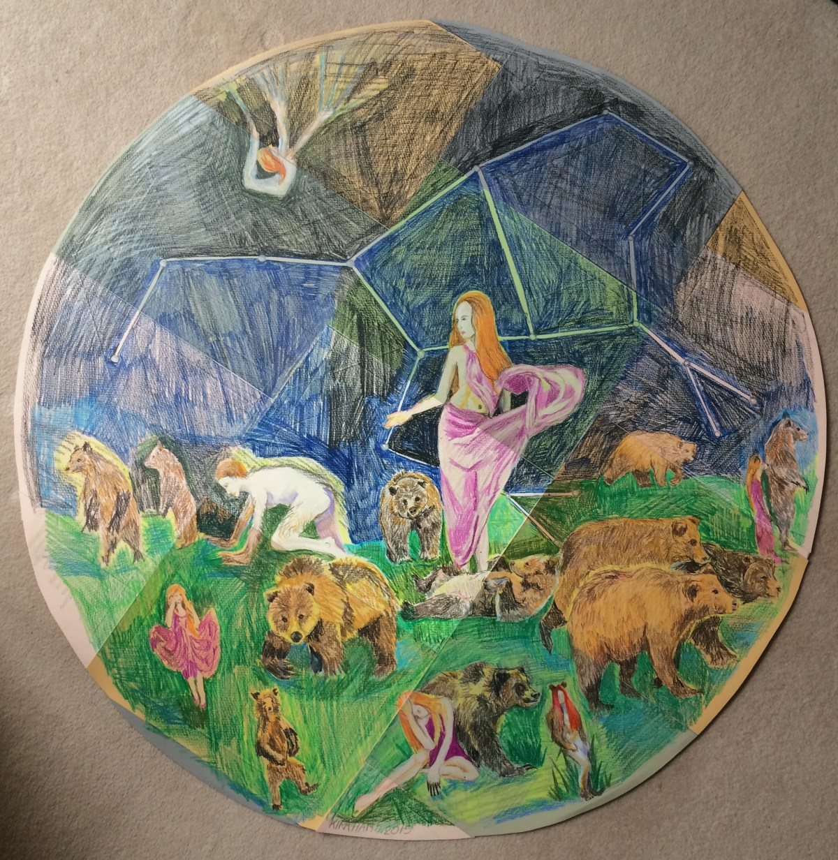 """Callisto turning into a Bear"", watercolour pencils on coloured pastel paper, 88cm diameter, Charlie Kirkham 2015."