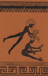 """Dice Cutting Adicia's Head"", ink on paper, 21x27.9cm, Charlie Kirkham 2015."