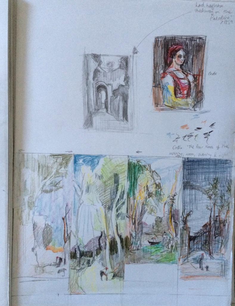 A3 Sketchbook Page of drawings from National Gallery collection. Charlie Kirkham 2014.