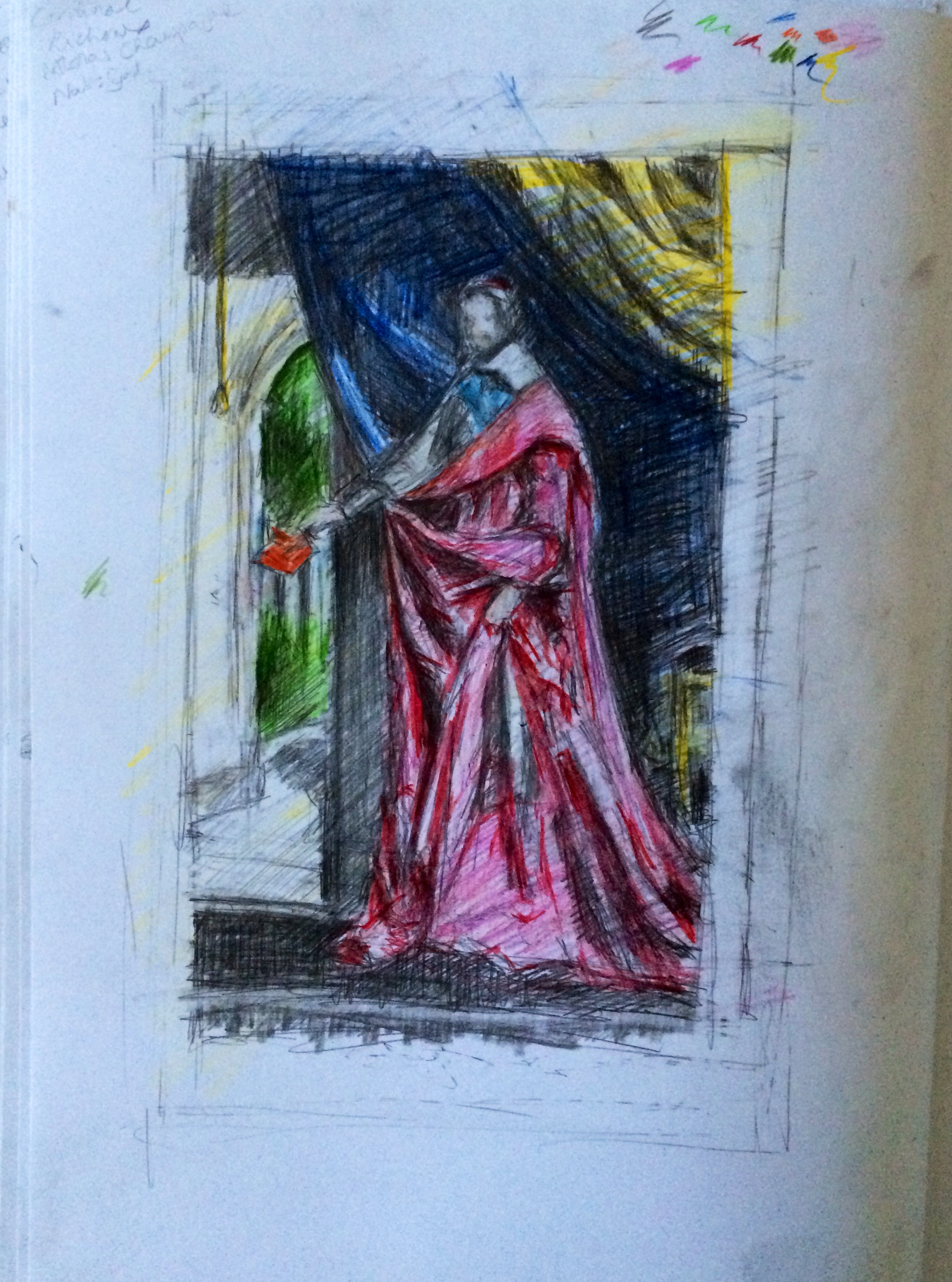 Pencil & coloured pencil sketch in A3 sketchbook after  Philippe de Champaigne